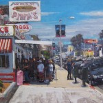 Scott Prior, Lunch at Pink's, oil, 12 x 16.