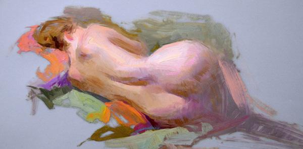 Susan Lyon, Reclining Nude, oil, 10 x 14.