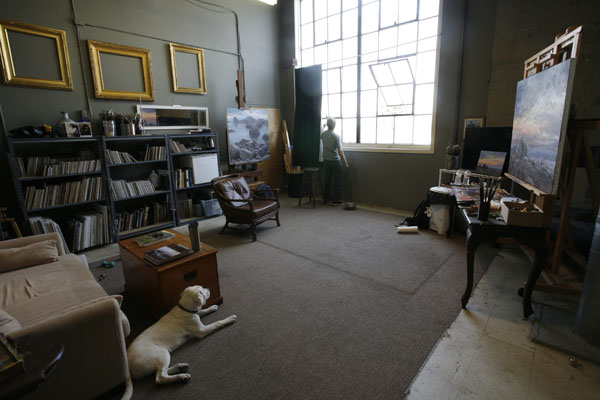 Jesse Powell's art studio in Monterey, CA