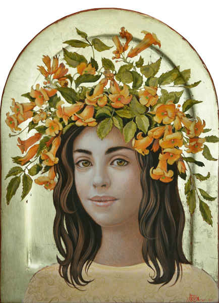 Olga & Aleksey Ivanov, Midsummer, Crown egg tempera/gold leaf, 12 x 9