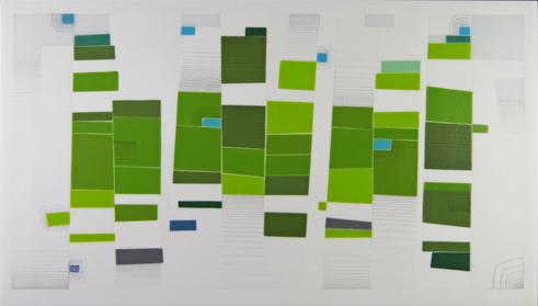 Morgan Madison, Echo #6, kiln-formed glass, 16 x 28 x 1.