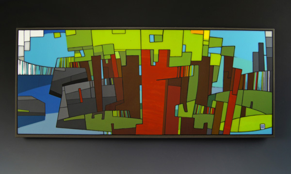 Morgan Madison, Survey #2, kiln-formed glass, 14 x 33 x 1.