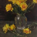 Kyle Ma, Still Life With Yellow Roses, oil, 20 x 16.