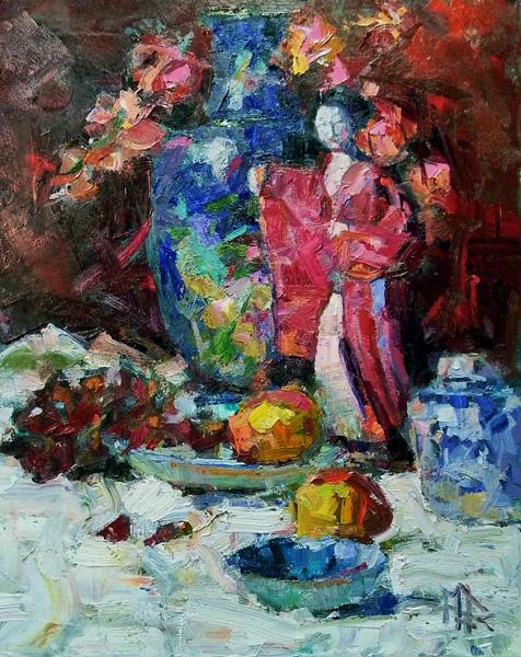 Robert MacPherson, Asian Figurine, oil, 20 x 16.