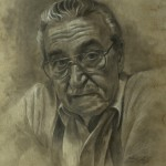 Mervyn Vowles, Mac, charcoal/white chalk, 20 x 15.