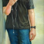 Julia Maddalina, Catching His Eye, oil, 48 x 18.