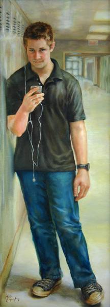 Julia Maddalina, Catching His Eye, oil, 48 x 18.
