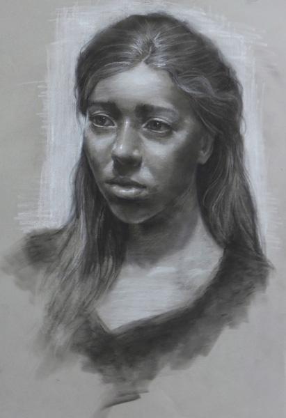 Julia Maddalina, Katy, charcoal, 18 x 12.
