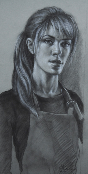 Julia Maddalina, Self Portrait With Mirror, charcoal, 18 x 9.