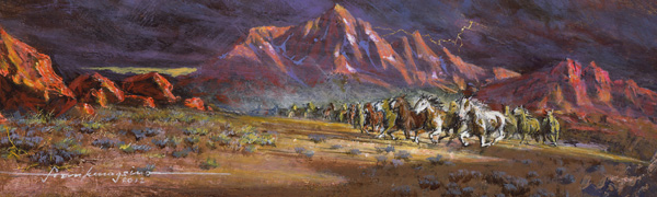 Frank Magsino, Stampede, oil, 2 x 5.