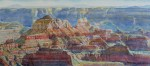 Merrill Mahaffey, North Rim Temples, watercolor, 10 x 23.