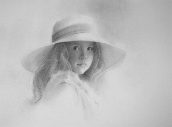 Arin Martin, Mama's Hat, graphite, 14 x 11.