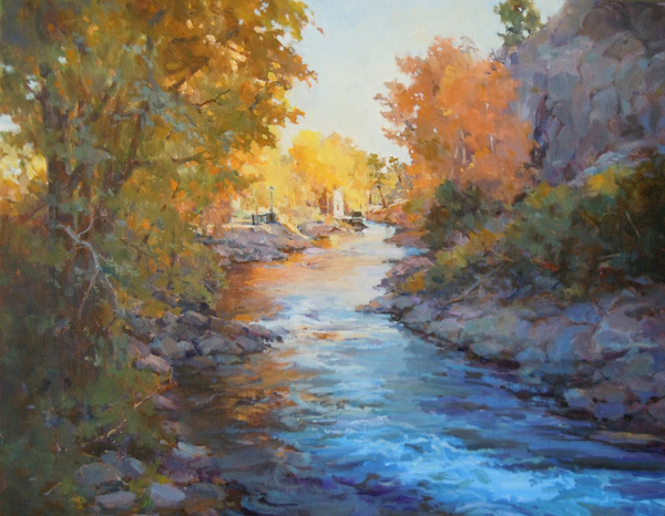 Margaret Jensen, The Big Thompson River in Autumn—A View From the Bridge, oil painting