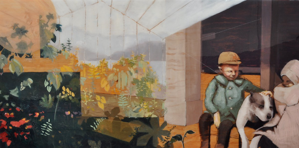 Amanda Raynes, Margaret With Brother and Dog, oil, 24 x 36.