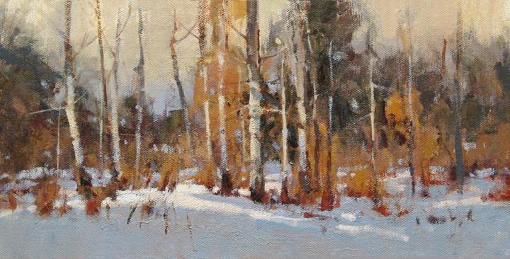 Marilyn Yates, Aspen Snow, acrylic, 6 x 12.