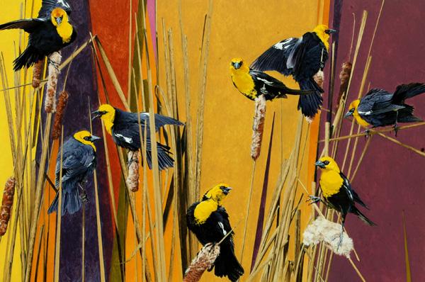 Mark Eberhard, Cattail Clowns, oil, 24 x 36.
