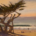Mark Farina, Carmel Beach Ghost Cypress, oil, 14 x 11.