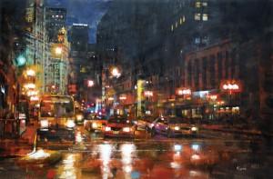 Mark Lague, Michigan Avenue at Night, oil, 24 x 36.