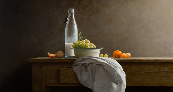 Mark Van Crombrugge, Old Milk Bottle and Grapes, oil, 31 x 59.