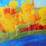 Marshall Noice, Birch Grove Lakeside, oil, 75 x75.