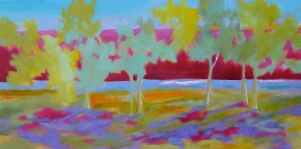 Gallatin Riverside, oil, 24 x 48.