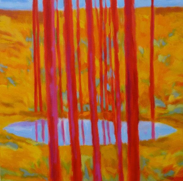 Sun Dappled Hillside, oil, 30 x 30.