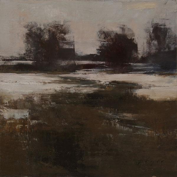 Marshlands in Winter, oil on panel, 12 x 12.