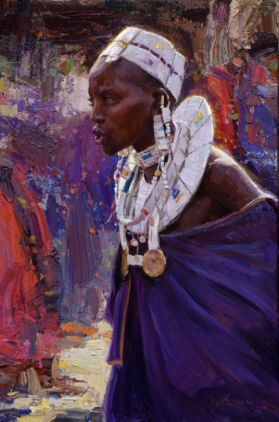 Massai Woman, oil, 36 x 24.