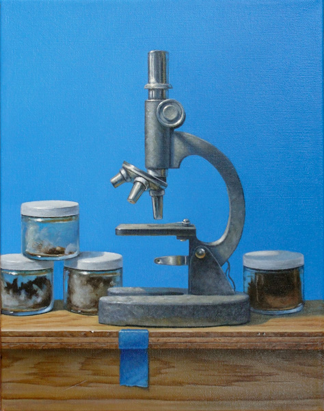 Holly Mathews, Microscope in Blue, oil, 14 x 11.
