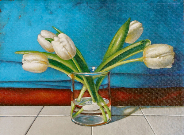 Holly Mathews, Tulips in Turquoise, oil, 9 x 12.
