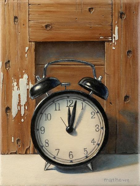 Holly Mathews, Two Past Twelve, oil, 12 x 9.