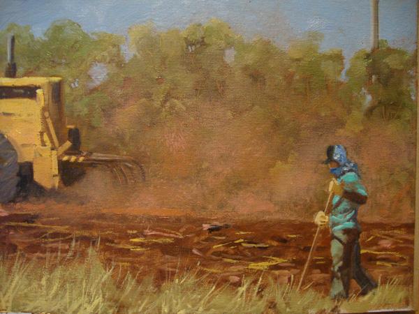Michael Clements, Maui Sugar Cane Worker, oil, 11 x 14.