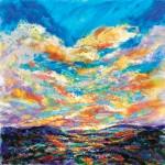 Barbara Meikle, The Last Glimmer, oil, 30 x 30.