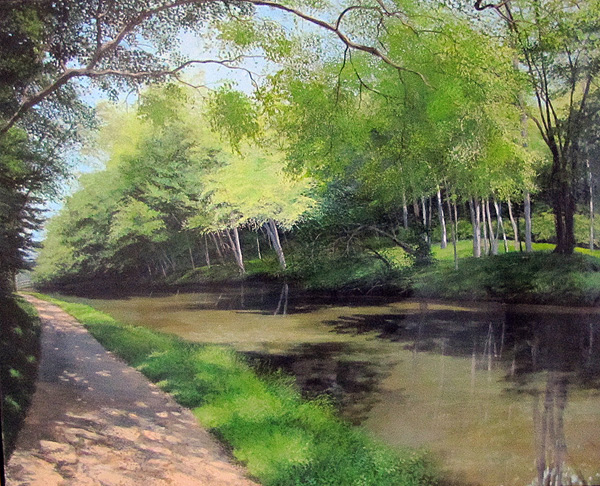 David Bottini, May Along the Canal, acrylic, 24 x 30.