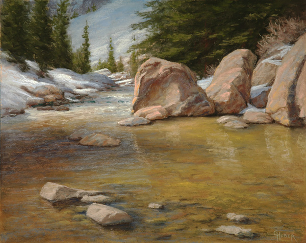 Gary Huber, May Snow and Megaliths, pastel, 16 x 20.