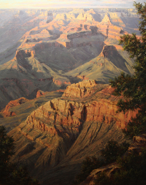 Kenny McKenna, Sunset from Mather Point, oil, 50 x 40.