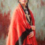 Krystii Melaine, Máóhksi'káán - Red Blanket, Blackfeet, oil, 24 x 16.