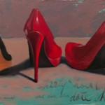 Melissa Small, Any Time Any Where Shoes, oil, 12 x 40.