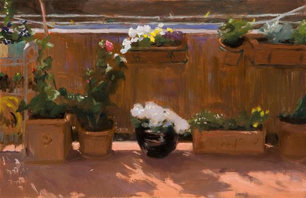 Melissa Franklin Sanchez, Terrace, oil, 7 x 10.