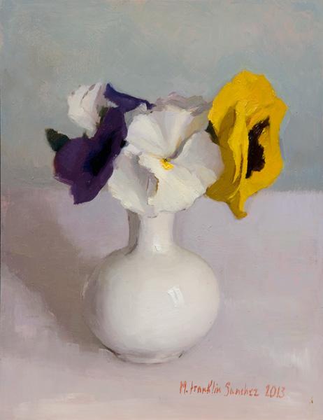 Melissa Franklin Sanchez, Pansies, oil, 9 x 13.