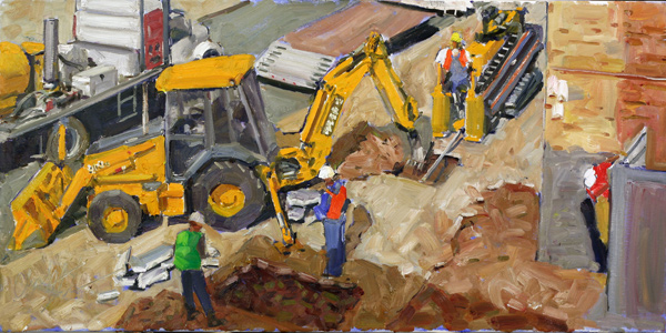 Clyde Steadman, Men at Work, oil painting