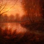 Michael Orwick, Summer Lake Sunset, oil, 36 x 48.