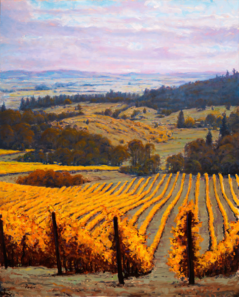 Michael Orwick, Youngberg Vineyard, oil, 72 x 48.