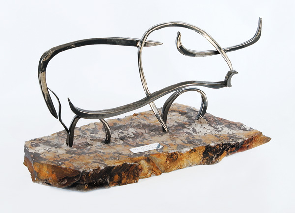 Michael Perks, Perspective #10, steel/stone, 13 x 24 x 10.