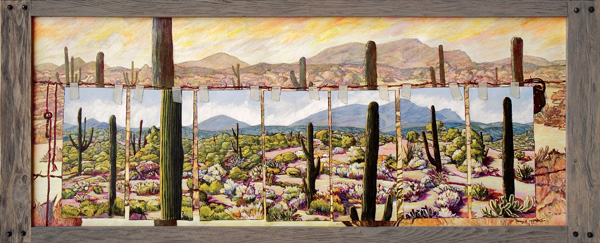 Nancy Michaelson, The Gate, acrylic, 24 x 60.