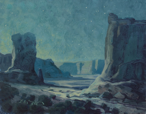 Jerry Markham, Midnight Monuments, oil, 11 x 14.