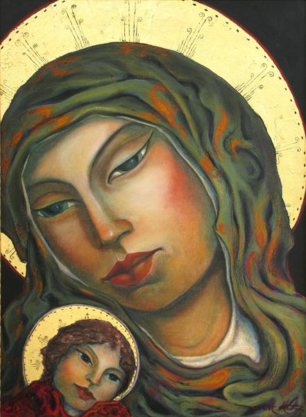 Miguel Martinez, Madre con Nina, pastel, 40 x 30.