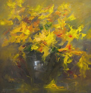 Mike Natale, Yellow Flowers, oil, 24 x 24.