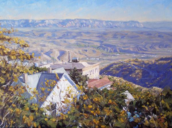 Scott Prior, Mile High Rooftops, oil, 18 x 24.