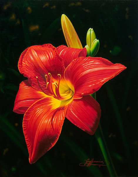 Monika's Red Lily, oil, 14 x 11.